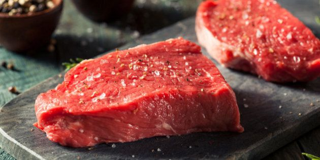 Raw Organic Grass Fed Sirloin Steak with Salt and