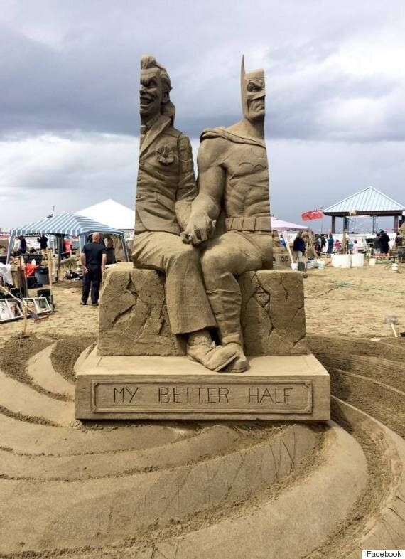 Batman Joker Sand Sculpture Wows Parksville Sandsculpting