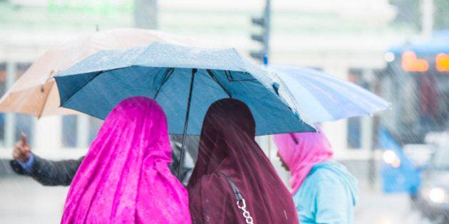 Women wearing headscarves under