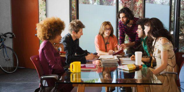 Creative team meeting in modern office