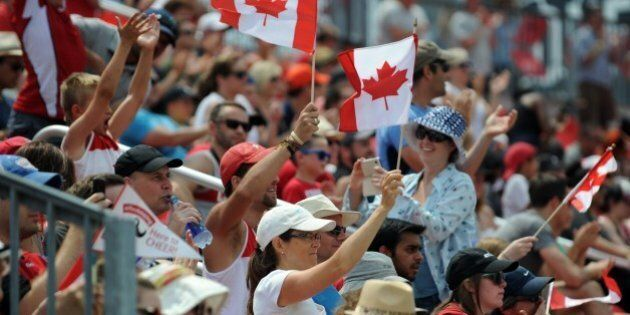 Spectators attend the Canada vs USA Rugby 7 Preliminary round match at the Toronto 2015 Pan American...