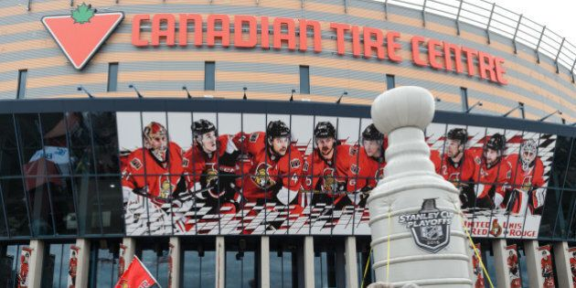 OTTAWA, ON - APRIL 26:  An outdoor view of the Canadian Tire Centre prior to Game Six of the Eastern Conference Quarterfinals during the 2015 NHL Stanley Cup Playoffs at Canadian Tire Centre on April 26, 2015 in Ottawa, Ontario, Canada. The Montreal Canadiens eliminated the Ottawa Senators by defeating them 2-0 and move to the next round of the Stanley Cup Playoffs. (Photo by Minas Panagiotakis/Getty Images)