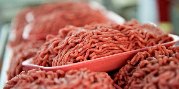 Trays of ground beef sit on a rack in the meat department of a supermarket in Princeton, Illinois, U.S.,...