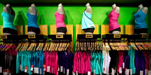 Athletic apparel sits on display at the Union Square Lululemon retail store in New York, U.S., on Wednesday,...