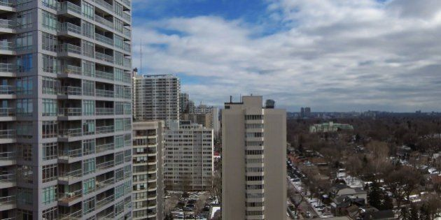 High rise apartments and low density housing in part of Toronto's