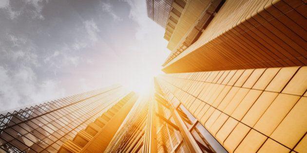 'Office skyscraper Reflection in the sunlight. Berlin, Germany'