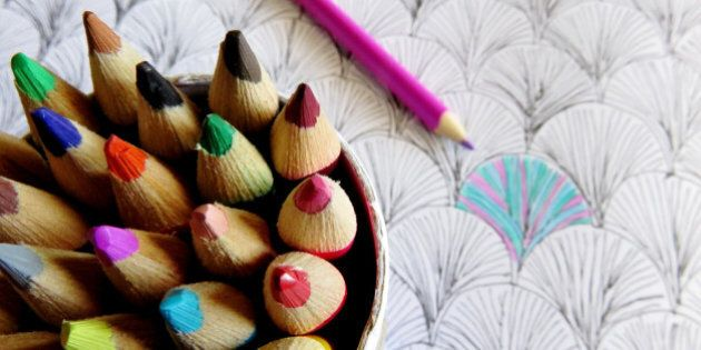 Colouring pencils and book for adults and kids to bring on mindfulness and