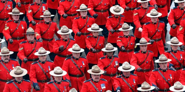 TORONTO, ON - JAN. 18: The RCMP red surge arrives at the Metro Toronto Convention Center for the day's...