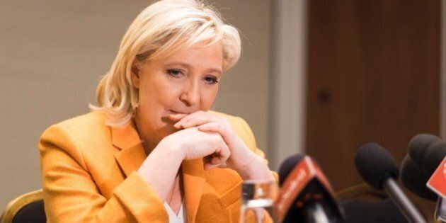 French far right Front National (FN) president Marine Le Pen speaks at a press conference in Quebec...