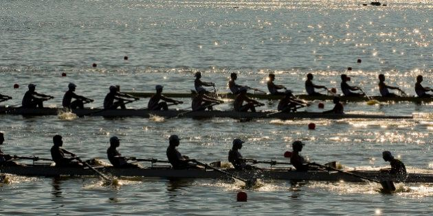 View of teams from Canada, Cuba and Argentina competing in the Men´s Eight With Coxswain heat at the...