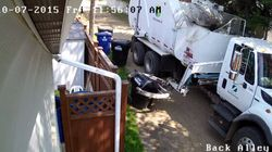 ► Garbage Truck Shows No Mercy, Crushes Garbage Can To