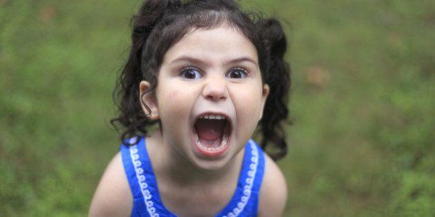 Little girl screaming.