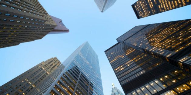 High-rise buildings in the Business District of Toronto, intersection of Bay Street and King