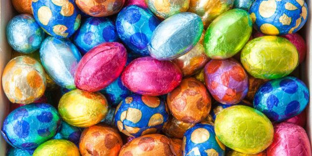 chocolate eggs in colorful foil ...
