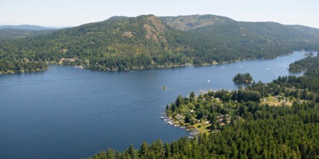 Aerial view of Shawnigan Lake, Cowichan Valley, British Columbia, Canada.