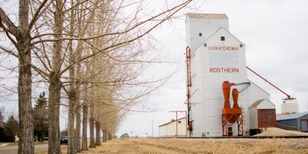 Grain elevator in Rosthern, Saskatchewan, a town of about 2,000 that's 45 minutes north of