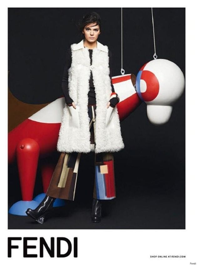 Kendall Jenner Poses Alongside Life-Size Puppets For Fendi Fall/Winter 2015