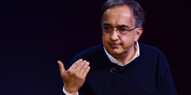 Chief Executive Officer of Fiat Chrysler Automobiles Group Sergio Marchionne addresses a speach during...