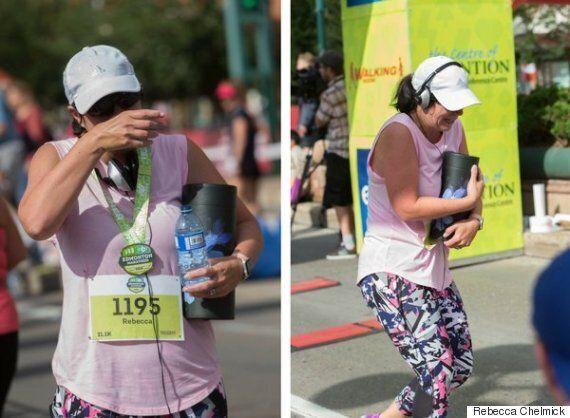 Edmonton Marathon Runner Carries Mom Across The Finish