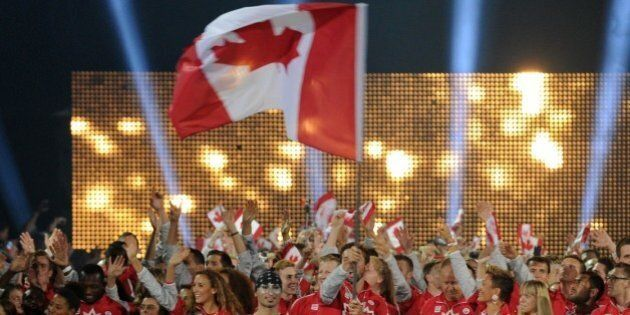 The delegation from Canada arrives during the opening ceremony for the 2015 Pan American Games at the...