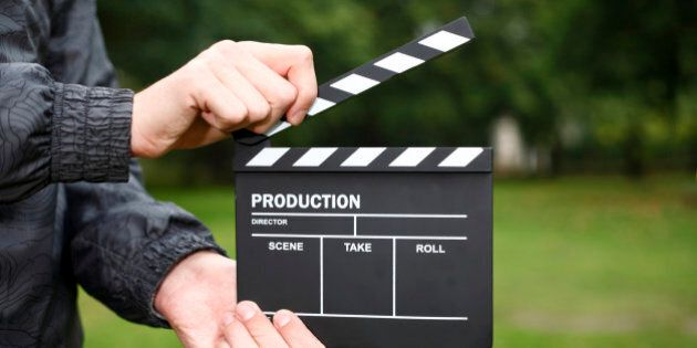 Professional Hollywood Film Clapper-board, being used on location.