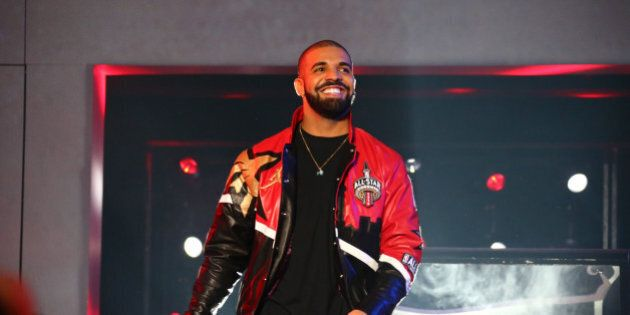 TORONTO, CANADA - FEBRUARY 14: Rapper, Drake announces the starting line ups before the NBA All-Star...