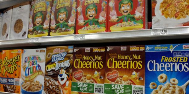 MIAMI, FL - SEPTEMBER 23: General Mills cereal products are displayed on a store shelf on September 23,...