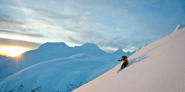 Skier Skiing Powder Snow Above Thompson Pass On Girls Mountain Near Valdez, Chugach Mountains, Winter...