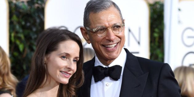 BEVERLY HILLS, CA - JANUARY 11:  Actor Jeff Goldblum (R) and Emilie Livingston-Goldblum attends the 72nd Annual Golden Globe Awards at The Beverly Hilton Hotel on January 11, 2015 in Beverly Hills, California.  (Photo by Frazer Harrison/Getty Images)