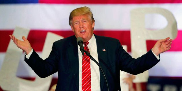 FILE - In this March 4, 2016 file photo, Republican presidential candidate Donald Trump speaks at a campaign rally in New Orleans. They may be on opposite ends of the political spectrum, but Trump and Bernie Sanders appear to be sharing a catchphrase, which is huge. (AP Photo/Gerald Herbert, File)