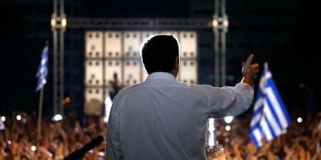Greece's Prime Minister Alexis Tsipras delivers a speech during a rally organized by supporters of the...