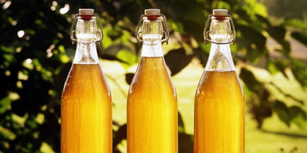3 clear glass bottles full of mead are backlit by the morning