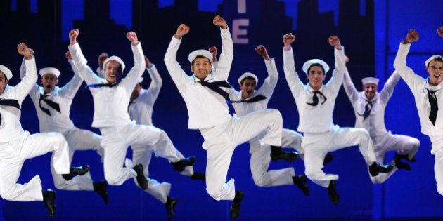 "The cast of ""On the Town"" performs at the 69th annual Tony Awards at Radio City Music Hall on Sunday, June 7, 2015, in New York. (Photo by Charles Sykes/Invision/AP)"