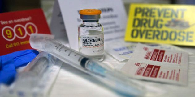 A kit with naloxone, also known by its brand name Narcan, is displayed at the South Jersey AIDS Alliance...