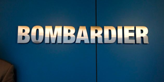The logo of Bombardier Inc. sits on display at the Paris Air Show in Paris, France, on Wednesday, June...