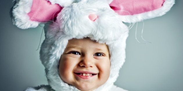 Cute baby girl dressed as bunny