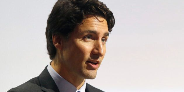 Canadian Prime Minister Justin Trudeau addresses world leaders at the COP21, United Nations Climate Change...