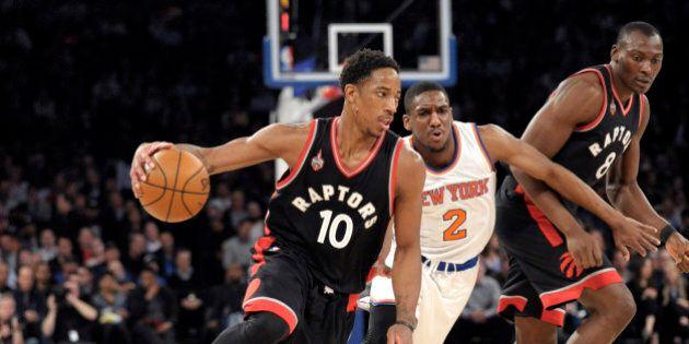 Toronto Raptors guard DeMar DeRozan (10) drives the basket as New York Knicks guard Langston Galloway...