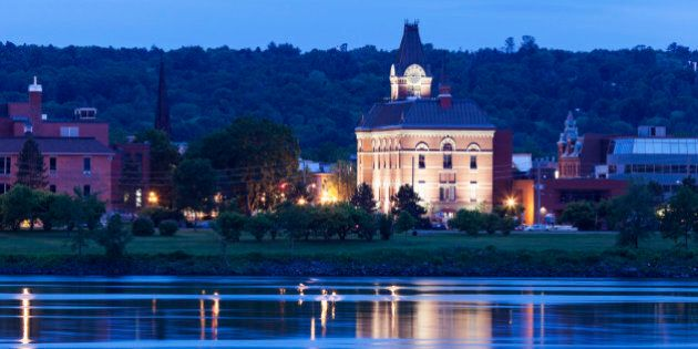 Canada, New Brunswick, Fredericton, City hall by Saint John River at