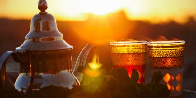 Mint tea at sunset, Marrakesh, Morocco