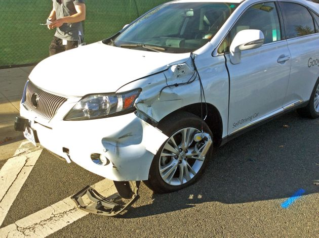 Google Driverless Car Sideswipes Bus, Gets Caught On