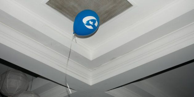 TORONTO, CANADA - OCTOBER 19: A Conservative party balloon rests on the ceiling during former Finance...