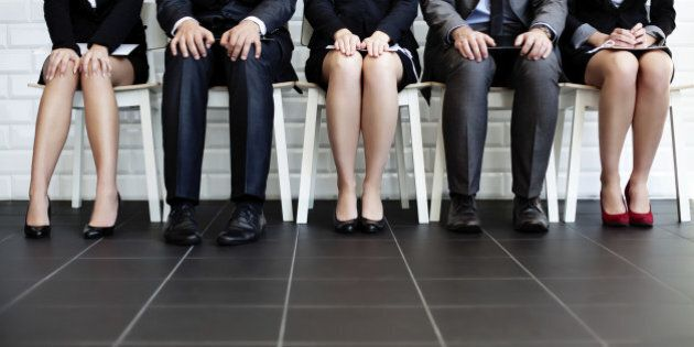 Stressful people waiting for job