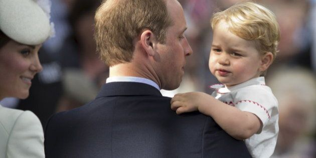 Prince William, Catherine, the Duchess of Cambridge and their son Prince George leave after Princess...