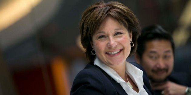 Christy Clark, premier of British Columbia, smiles during an interview in New York, U.S., on Wednesday,...