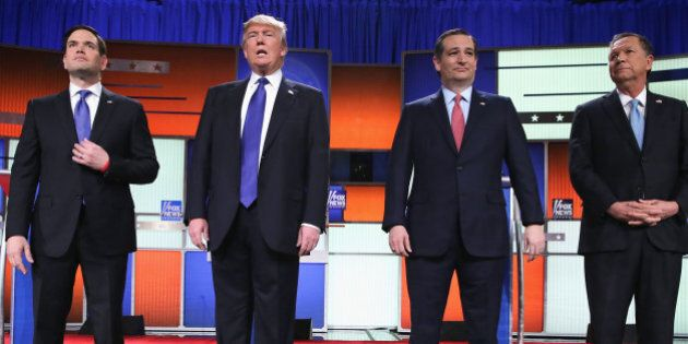 DETROIT, MI - MARCH 03: Republican presidential candidates Sen. Marco Rubio (R-FL), Donald Trump, Sen. Ted Cruz (R-TX), and Ohio Gov. John Kasich, participate in a debate sponsored by Fox News on March 3, 2016 in Detroit, Michigan. Voters in Michigan will go to the polls on March 8 to vote for their partys presidential nominee. (Photo by Chip Somodevilla/Getty Images)