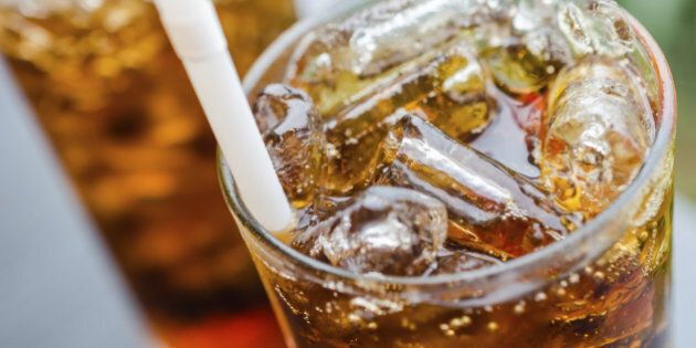 Coke with ice in glass