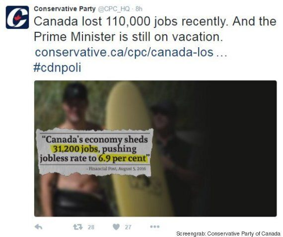 Tories Use Shirtless Trudeau Photo To Criticize PM's Vacation Amid Job