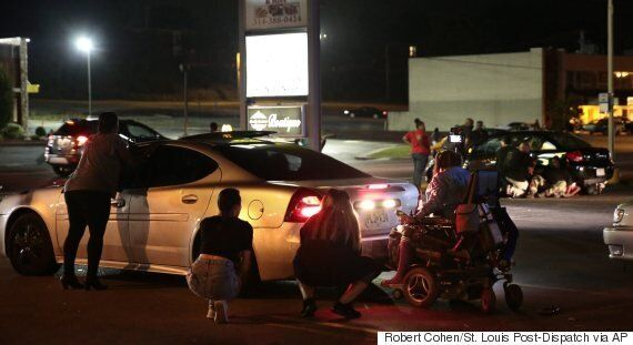 Ferguson Protest Marking Fatal Police Shooting Erupts In