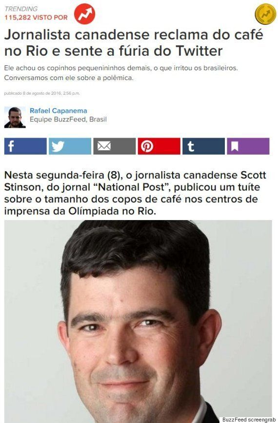 Scott Stinson, Canadian Journalist, Roasted In Rio After Complaining Of Small